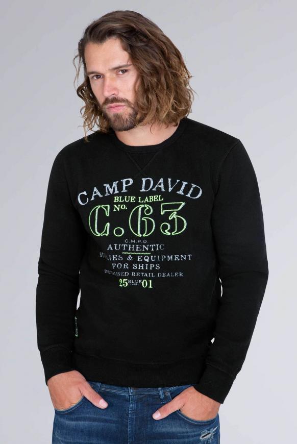 Sweater mit Logo Print und Stickereien black