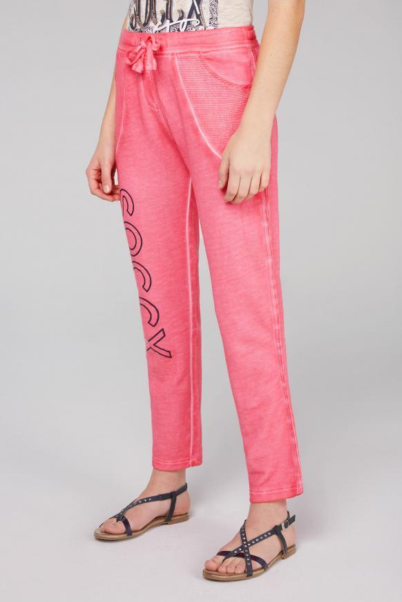 Sweathose Oil Dyed mit tollen Details oriental pink