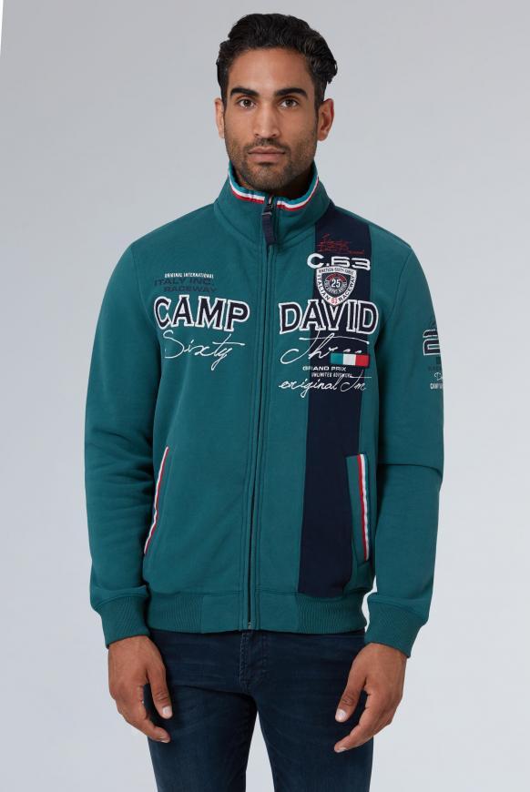 CAMP DAVID & SOCCX   Sweatjacke mit Farbstreifen und Artwork