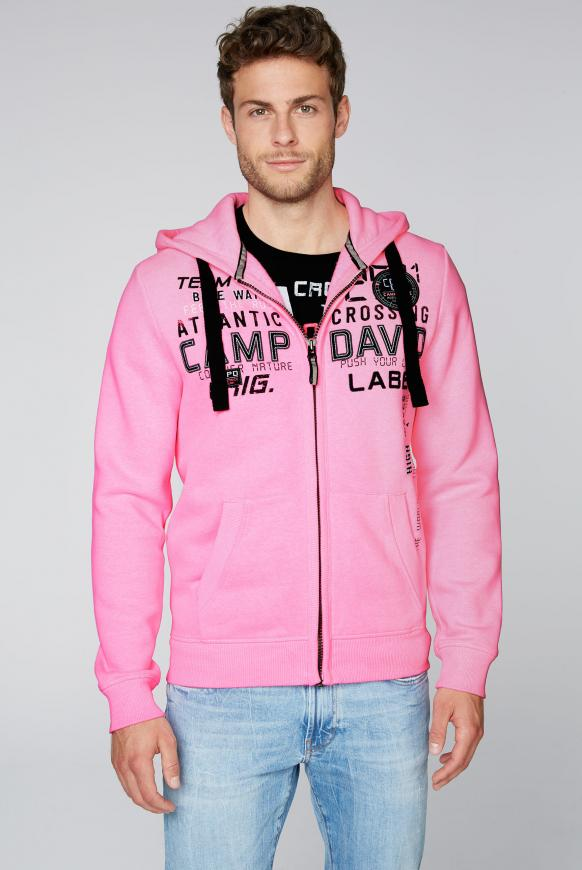 Sweatjacke mit Kapuze und Logo-Artwork neon pink