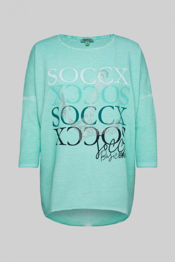 Sweatshirt mit 3/4-Arm und Artwork light pacific