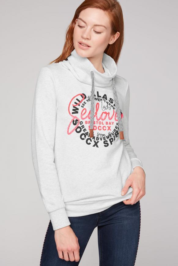 Sweatshirt mit Artwork und hohem Kragen ivory melange