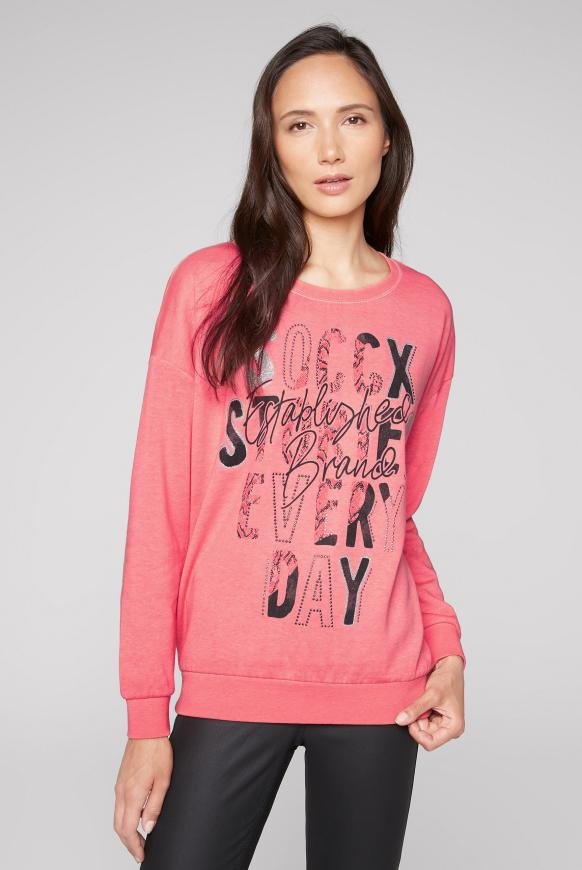 Sweatshirt mit Ausbrenner-Effekten pure coral