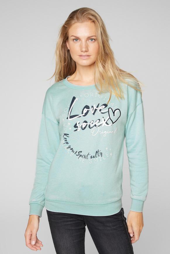 Sweatshirt mit Ausbrenner-Effekten frozen aqua