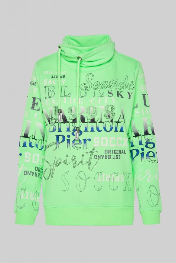 Sweatshirt mit hohem Kragen und Artwork lime punch