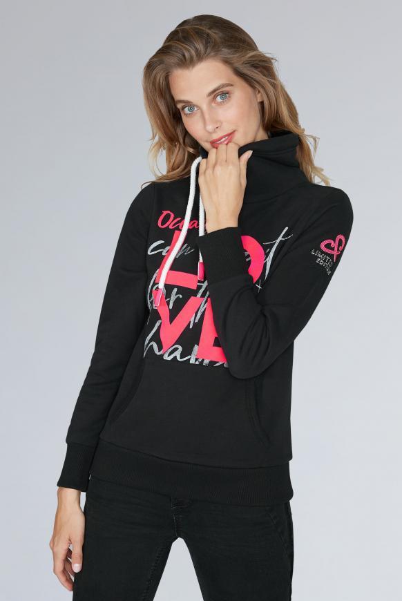 Sweatshirt mit hohem Kragen und Artworks black