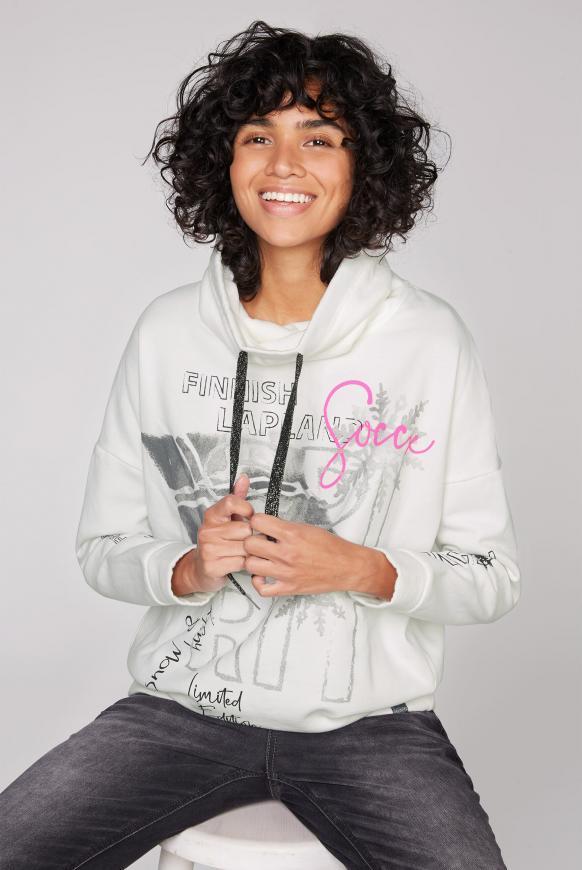 Sweatshirt mit hohem Kragen und Artworks ivory
