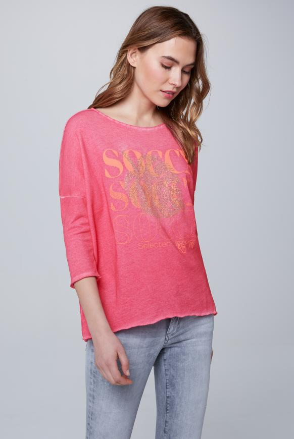 Sweatshirt mit Logo und 3/4-Ärmeln oriental pink