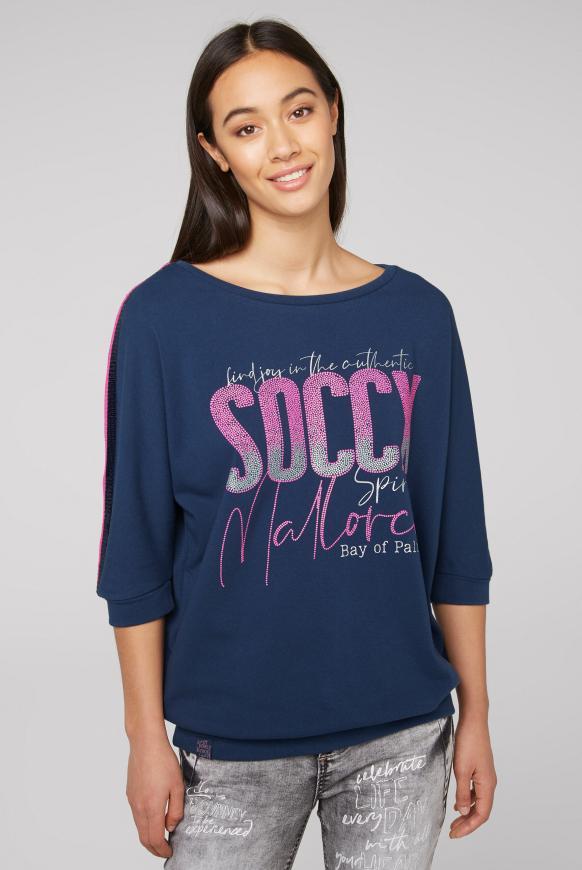 Sweatshirt mit Logo und Pailletten-Tape blue soul