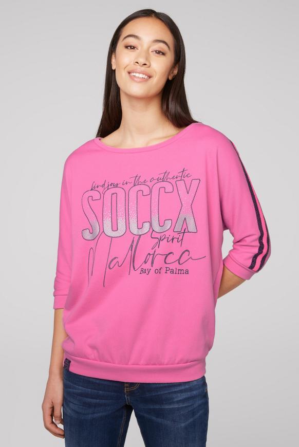Sweatshirt mit Logo und Pailletten-Tape pink lemonade