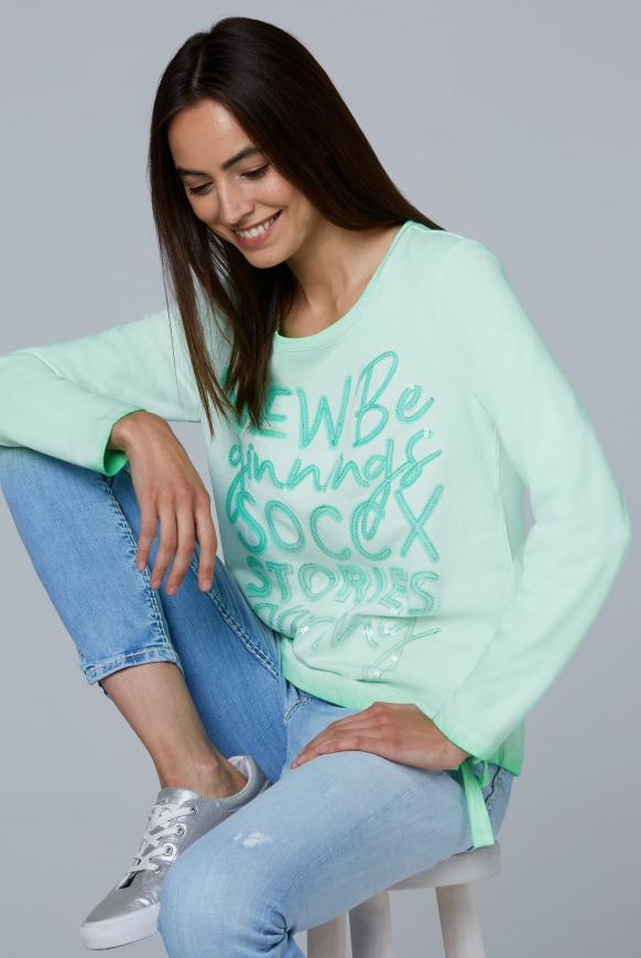 Sweatshirt mit Wording und Tunnelzugsaum market green