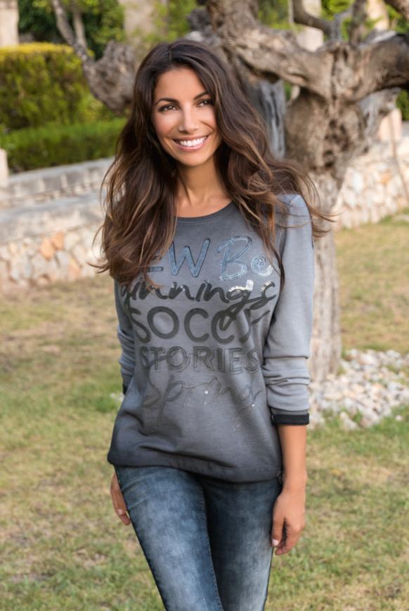 Sweatshirt mit Wording und Tunnelzugsaum fog black