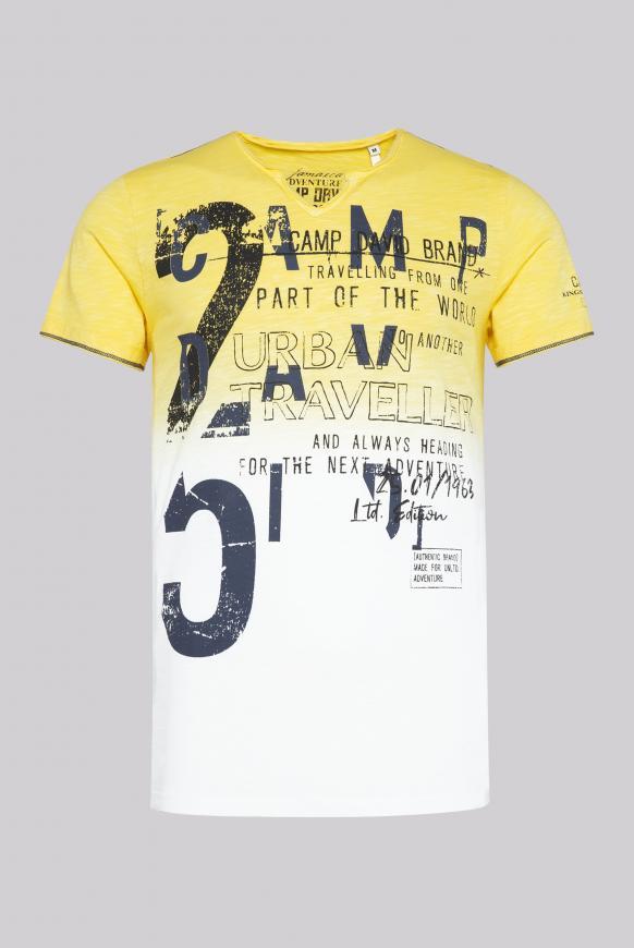 T-Shirt aus Flammgarn mit Dip-Dye-Effekt beach yellow