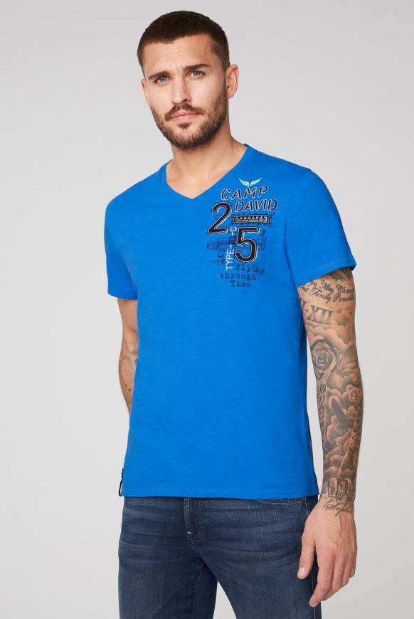 T-Shirt aus Flammgarn mit Rücken-Artwork neon blue