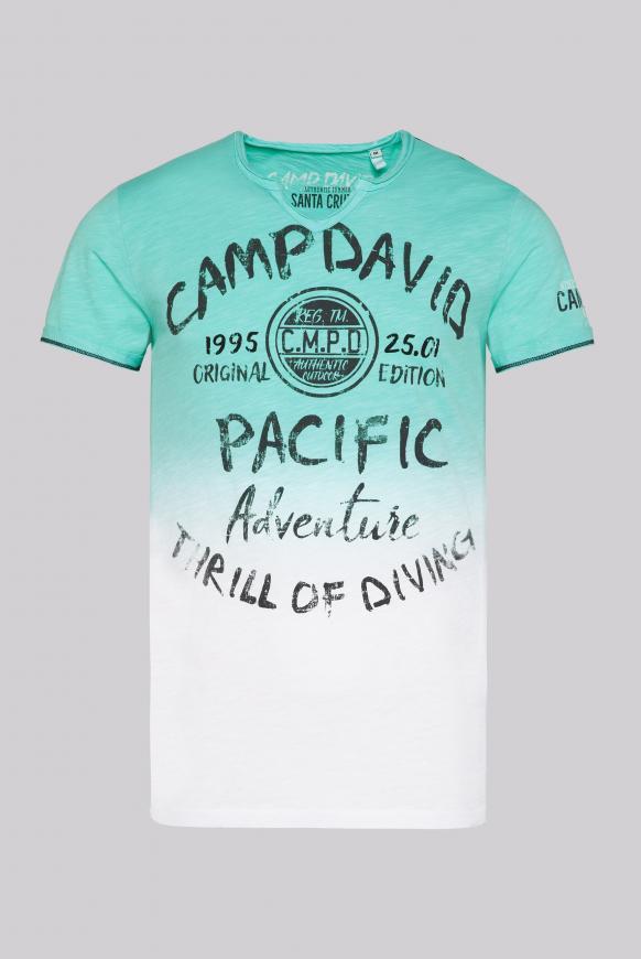 T-Shirt Dip Dye mit Prints und Used-Optik aqua green / opticwhite