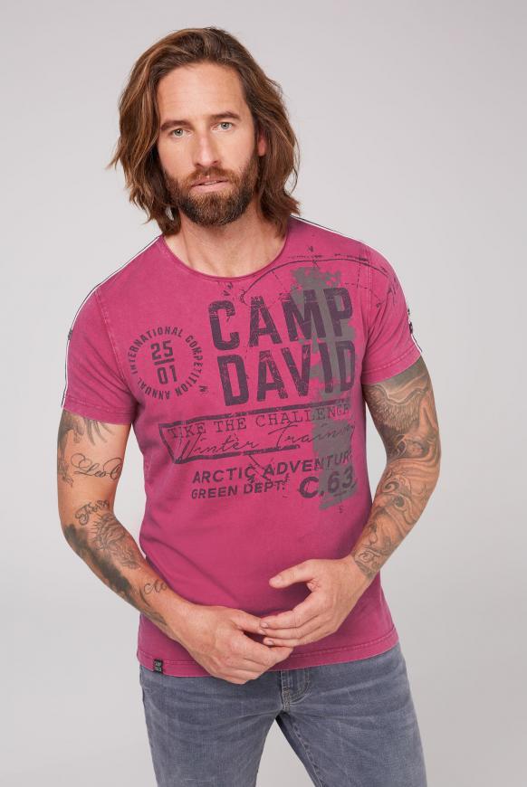 T-Shirt im Vintage Look mit Label Print magenta