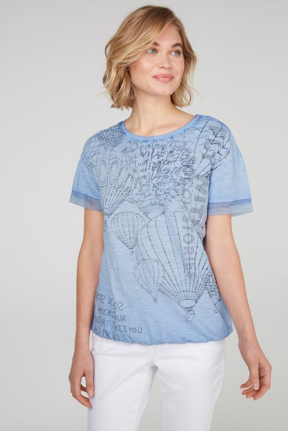 T-Shirt Loose Fit mit Artwork soft sky