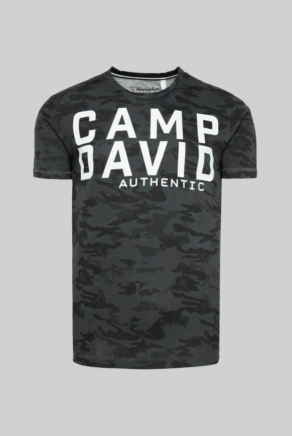 T-Shirt mit All Over Print black camou