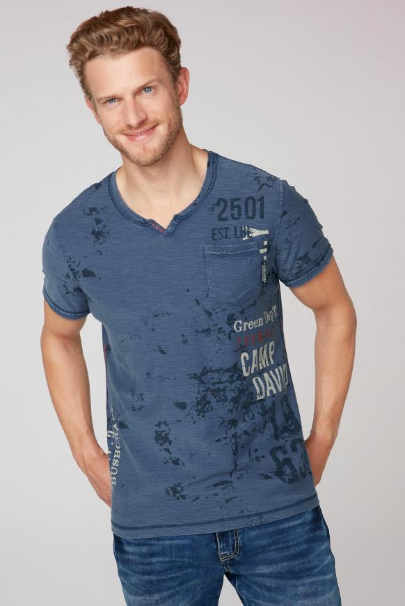 T-Shirt mit All Over Print und Used-Optik blue grey
