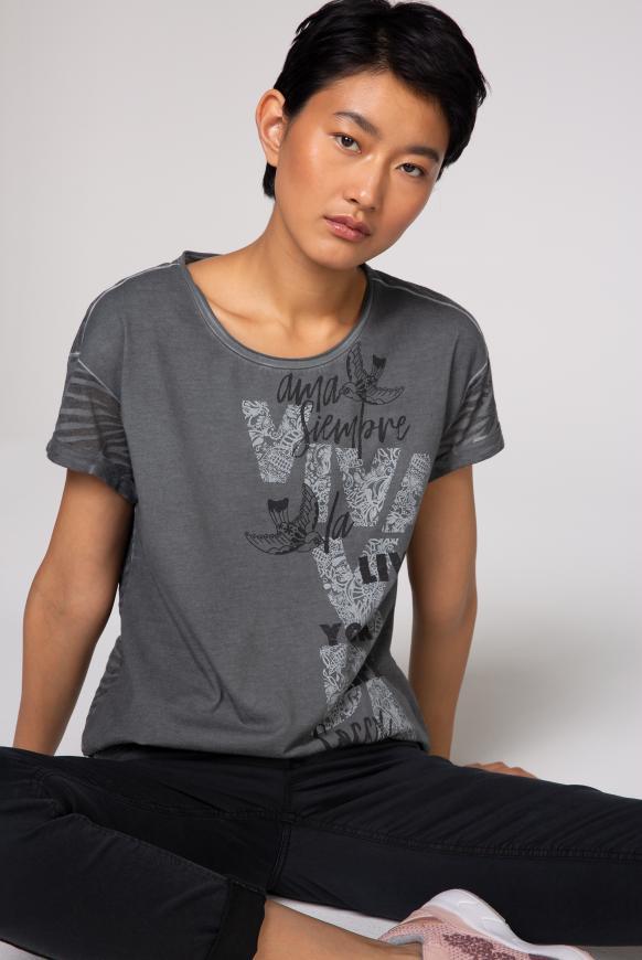 T-Shirt mit Artwork und Ausbrenner-Muster black smoke