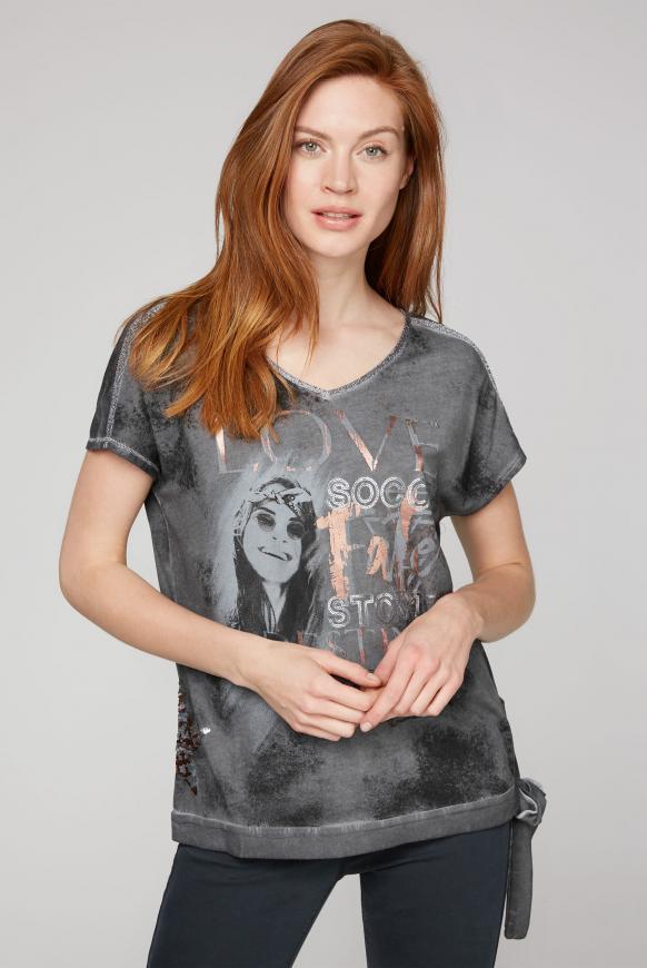 T-Shirt mit Artwork und Knotensaum grey phantom
