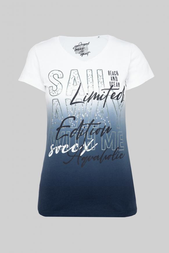 T-Shirt mit Dip-Dye-Effekt und Print-Artwork blue navy
