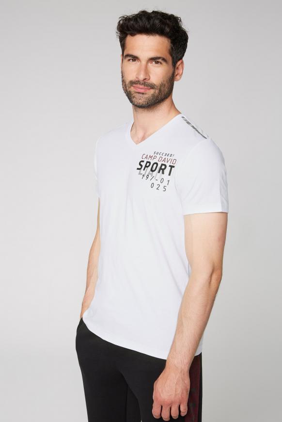 T-Shirt mit Folien-Artwork auf dem Rücken opticwhite