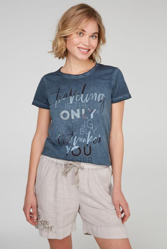 T-Shirt mit Glitter Artwork blue navy