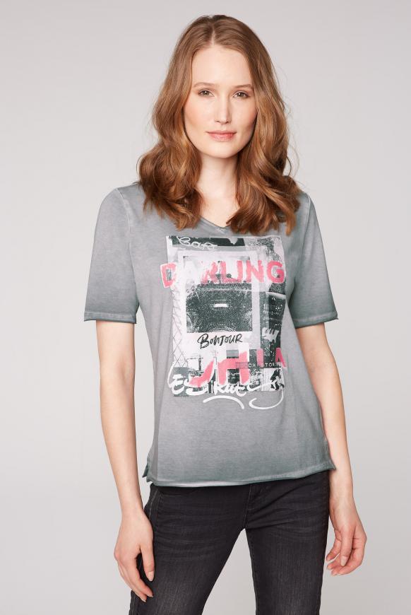T-Shirt mit Glitter-Print und Used-Kanten dark ash