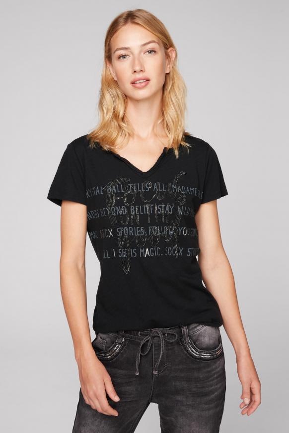 T-Shirt mit Glitzerstein-Artwork black