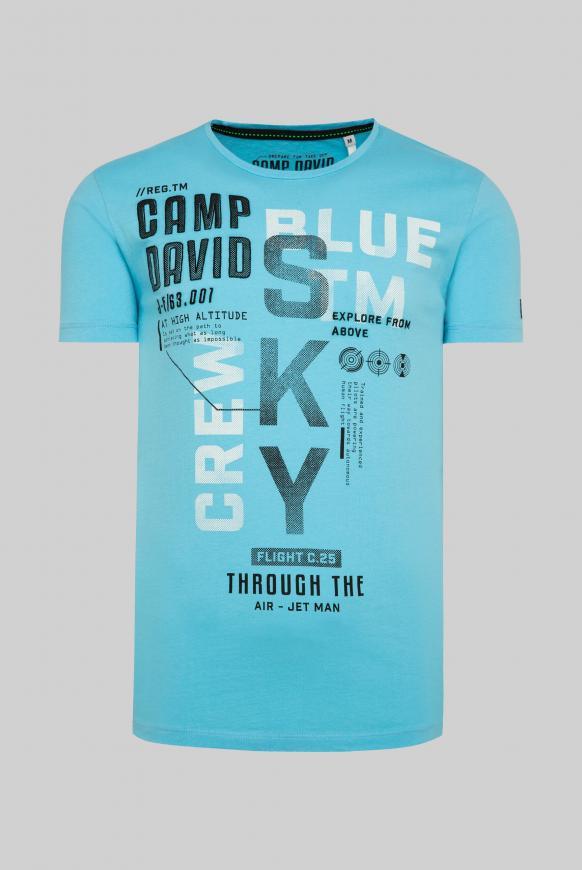 T-Shirt mit Label-Applikationen diving blue