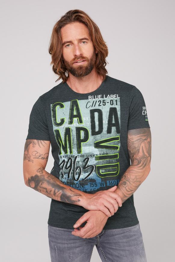 T-Shirt mit Logo Prints anthra melange
