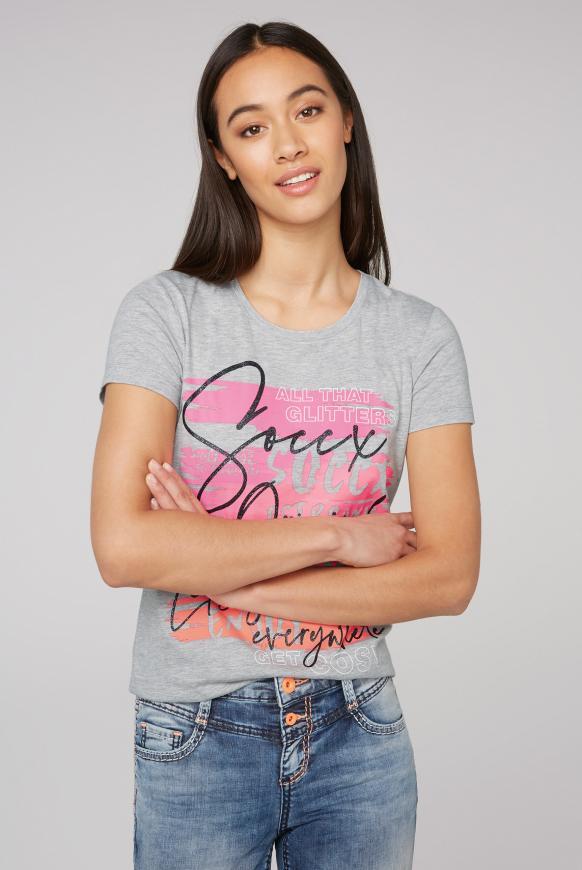 T-Shirt mit Neon Glitter Print grey melange