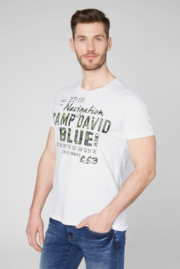 T-Shirt mit Photoprint Logo opticwhite