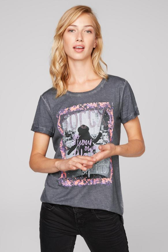 T-Shirt mit Print und Glitzersteinen grey phantom