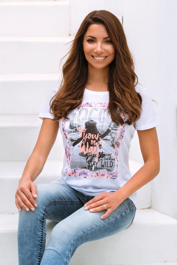 T-Shirt mit Print und Glitzersteinen opticwhite