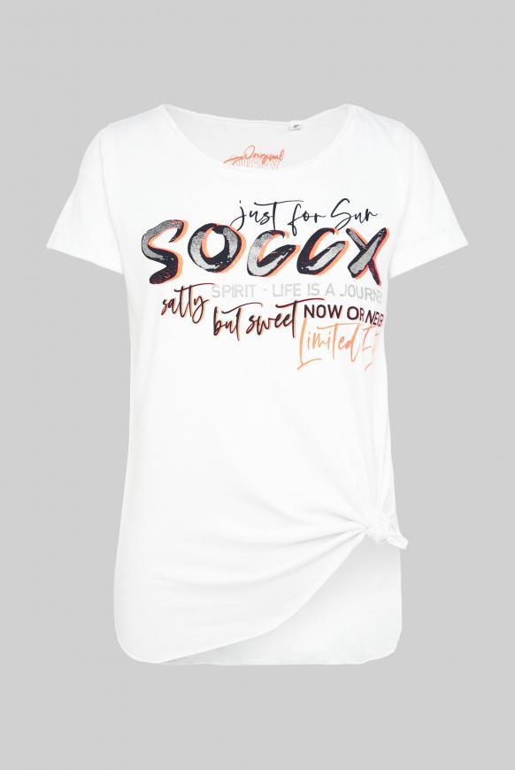 T-Shirt mit Print und Knotensaum opticwhite