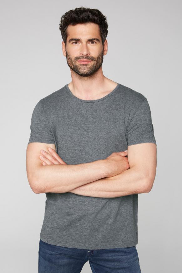 T-Shirt mit Rundhalsausschnitt granite melange