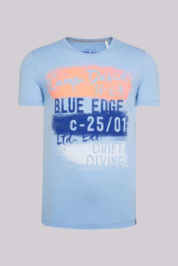T-Shirt mit Rundhalsausschnitt und Artwork summer blue