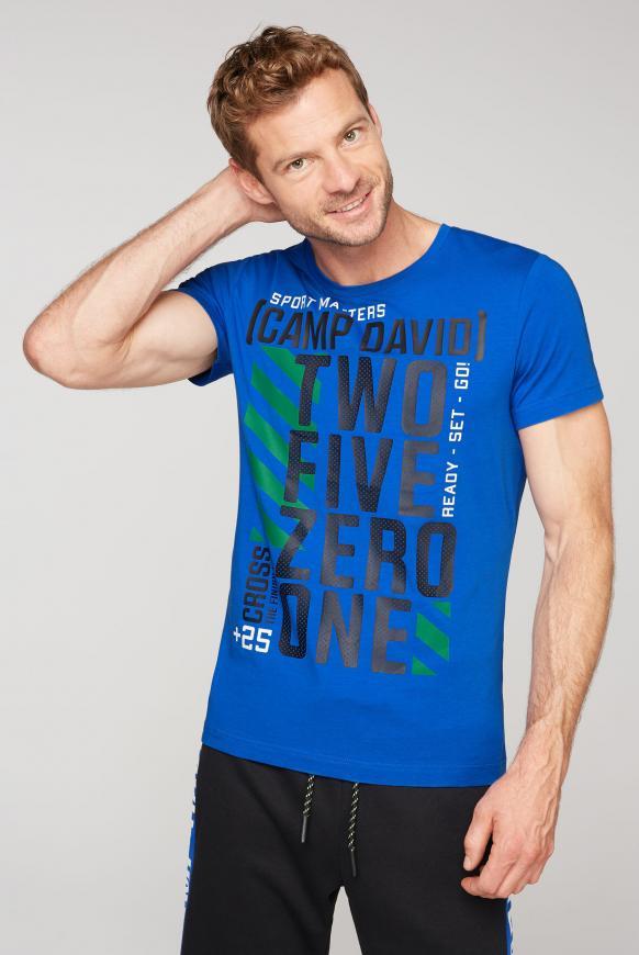 T-Shirt mit Rundhalsausschnitt und Artworks urban blue