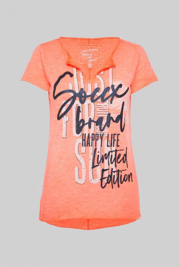 T-Shirt mit Used-Optik und Glitter Print neon orange