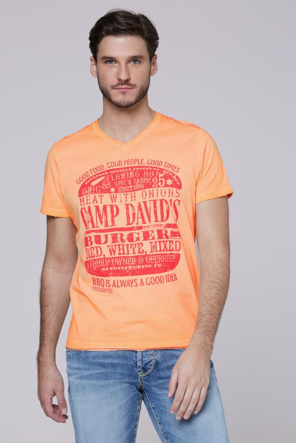 T-Shirt mit Used Print und Destroy-Effekten spicy orange