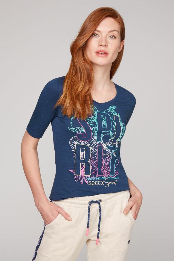 T-Shirt mit V-Ausschnitt und Artwork blue soul