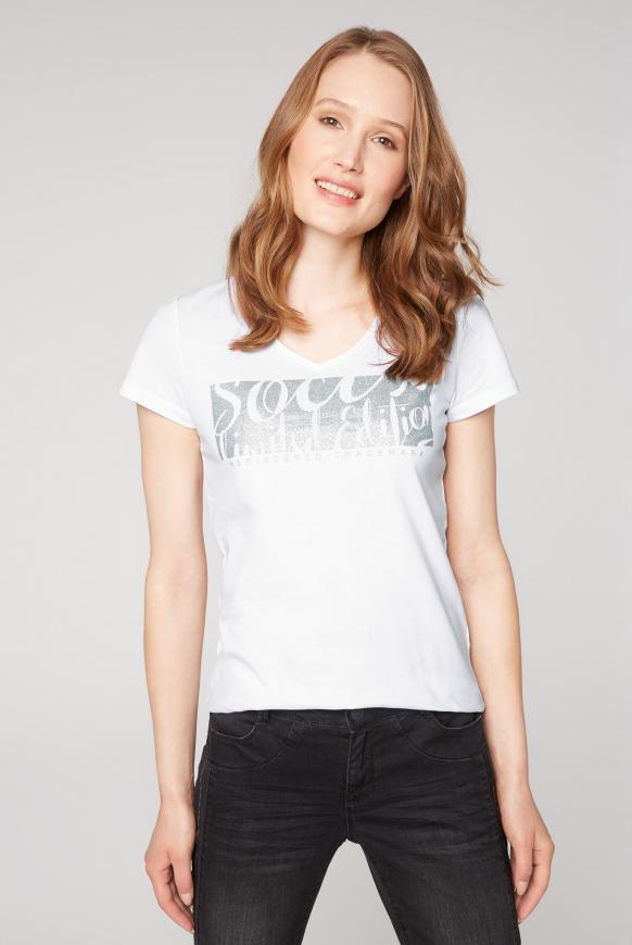 T-Shirt mit V-Ausschnitt und Glitter Print opticwhite