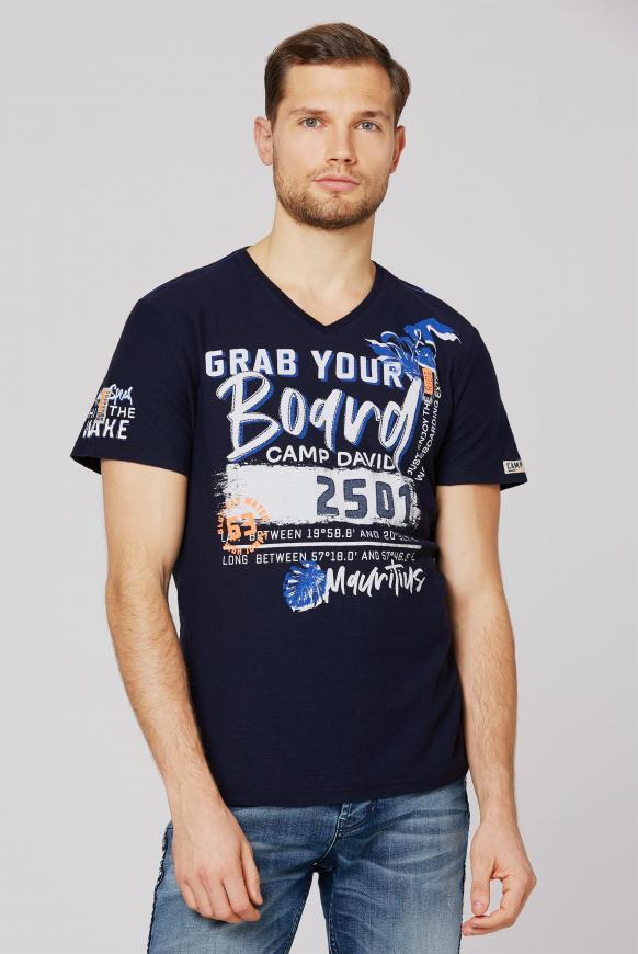 T-Shirt mit V-Neck und Artworks thunder blue