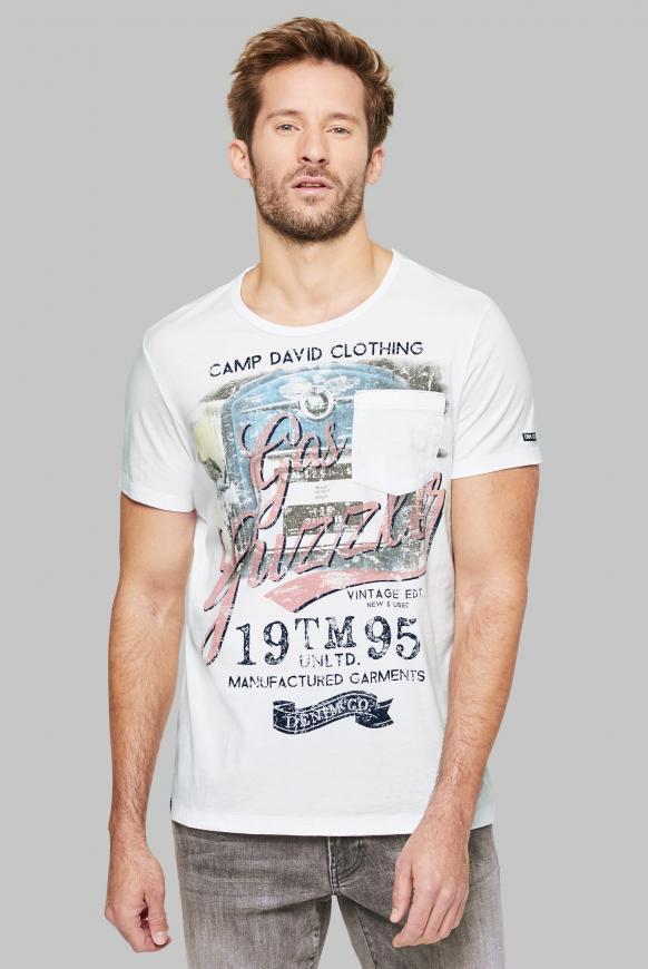 T-Shirt mit Vintage Print und Tasche opticwhite