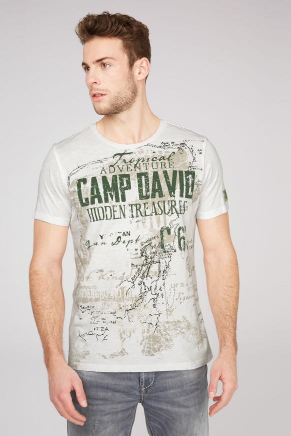 T-Shirt mit Watercolour Print offwhite