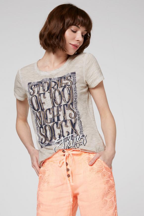 T-Shirt Oil Dyed mit Artwork desert beige
