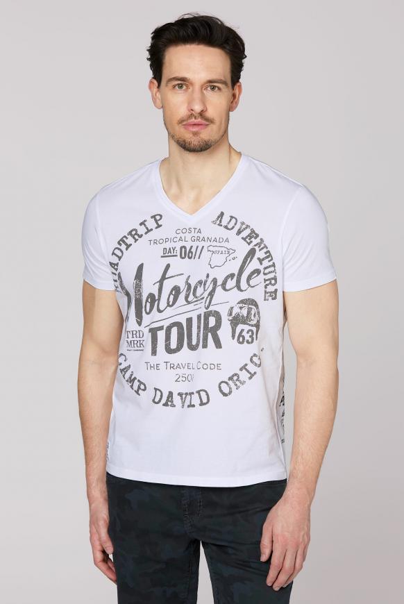 T-Shirt V-Neck mit Prints opticwhite