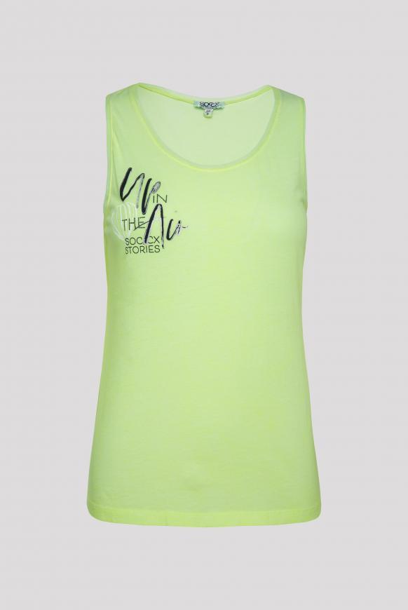 Top mit Mesh-Details und Prints summer lime